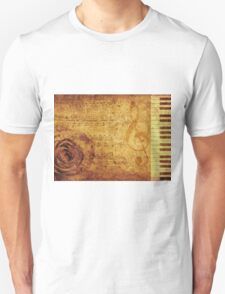 Grunge rose, piano and music notes Unisex T-Shirt