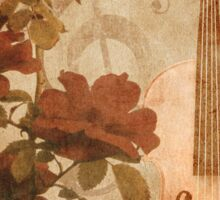 Grunge roses and violin Sticker