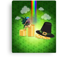 St Patrick's day background with coins and fairy Canvas Print