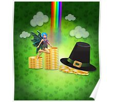 St Patrick's day background with coins and fairy Poster
