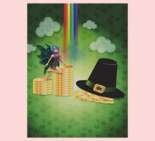 St Patrick's day background with coins and fairy Kids Clothes