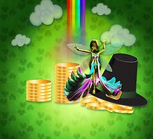 St Patrick's day background with coins and fairy 2 by AnnArtshock