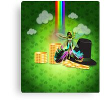 St Patrick's day background with coins and fairy 2 Canvas Print
