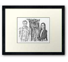 Siblings and a tree drawing Framed Print
