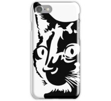 Black cat head with big round eyes iPhone Case/Skin