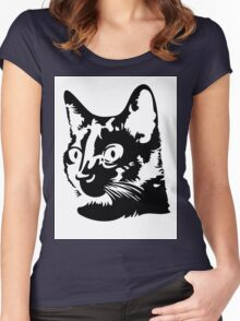 Black cat head with big round eyes Women's Fitted Scoop T-Shirt