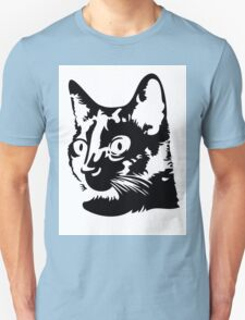 Black cat head with big round eyes T-Shirt