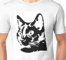 Black cat head with big round eyes Unisex T-Shirt
