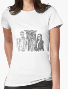 Siblings and a tree drawing Womens Fitted T-Shirt
