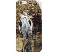 Great Blue Heron Hunting for Dinner - Watercolor Look iPhone Case/Skin