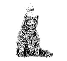 Bear with Crown (on White) by Matthew Britton