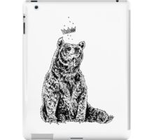 Bear with Crown (on White) iPad Case/Skin
