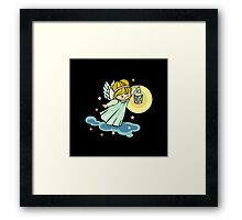 Angel with lantern is flying in the night sky Framed Print