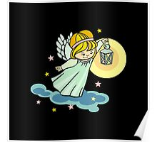 Angel with lantern is flying in the night sky Poster