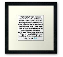 Rural Juror Lyrics Framed Print