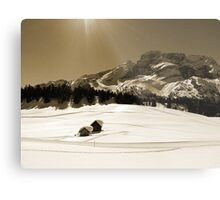 Little Snowy Hut by Mountains Metal Print