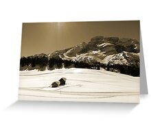 Little Snowy Hut by Mountains Greeting Card