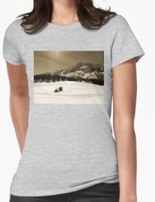 Little Snowy Hut by Mountains Womens Fitted T-Shirt