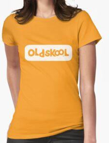 Oldskool logo - white Womens Fitted T-Shirt
