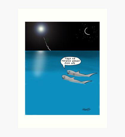Shark Cartoon Art Print