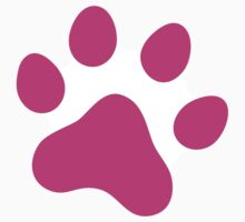 Hot pink paw print sticker by Mhea