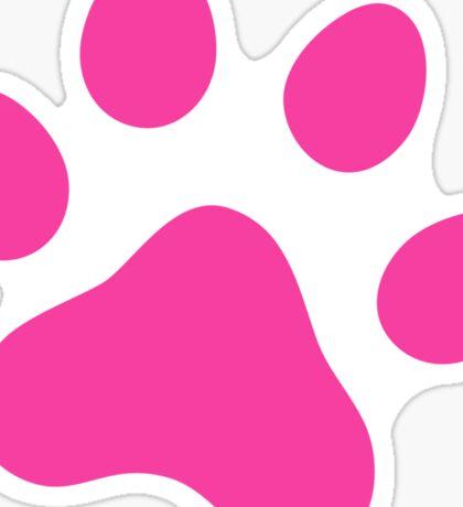 Hot pink paw print sticker Sticker