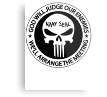 god will judge our enemies we'll arrange the meeting - white Metal Print