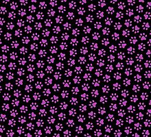 Purple paw prints on black background by Mhea