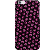 Hot pink paw prints on black background iPhone Case/Skin