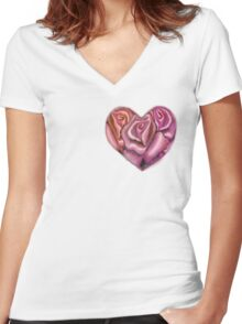 Pink Heart of Roses Women's Fitted V-Neck T-Shirt