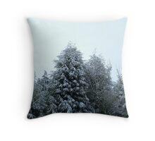 White tipped trees Throw Pillow