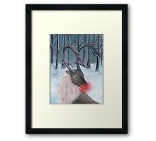 Realistic Rudolph Reindeer Acrylic Christmas Painting Framed Print