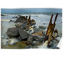Old Piles on Tybee North Beach Poster