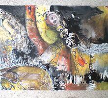 Bitumen Mixed Media Abstract 01 by Dani Louise Sharlot
