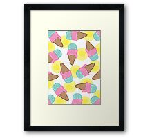 Retro Pink Strawberry And  Mint Ice-Cream Cones Framed Print