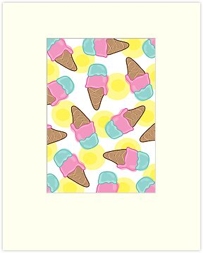 Retro Pink Strawberry an Mint Ice-Cream Cones by fatfatin