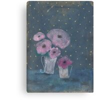 Pink flowers and golden dots Canvas Print