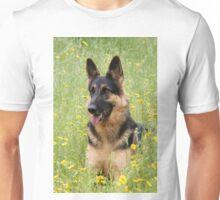 Alsatian German Shepherd outdoors in field grass Unisex T-Shirt