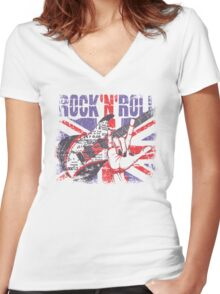 Rock n Roll Union Jack Women's Fitted V-Neck T-Shirt