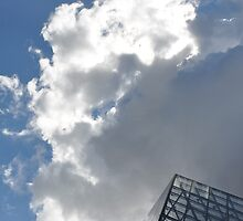 Louvre Pyramid Top with Clouds by MissCellaneous
