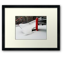 New York City Playground in Snow Framed Print