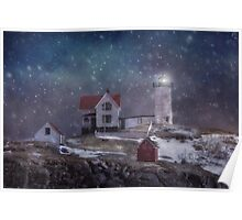 Winter Nights at Nubble Light - Maine Poster