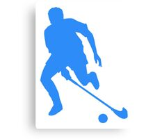 Blue Field Hockey Player Silhouette Canvas Print