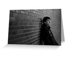jusitn bw brick wall Greeting Card
