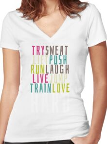 Live Hard Women's Fitted V-Neck T-Shirt