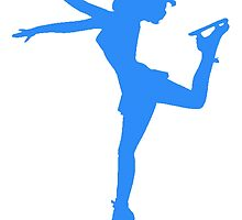 Blue Figure Skate Silhouette by kwg2200