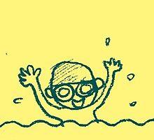 Swimming boy (yellow) by amberisamber