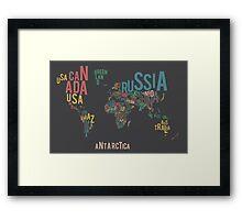 Typographic World Map Framed Print