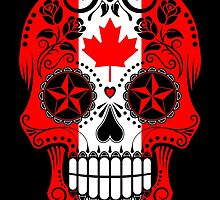 Sugar Skull with Roses and Flag of Canada by Jeff Bartels