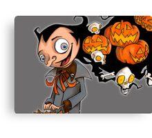 Creepy Halloween Pumpkin Head  Canvas Print